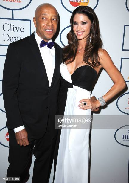 Russel Simmons and Shannon Elizabeth arrives at the Clive Davis And The Recording Academy Annual PreGRAMMY Gala at The Beverly Hilton Hotel on...