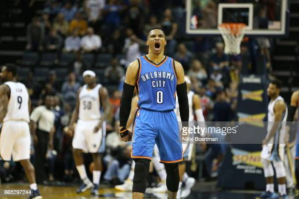 Russel Westbrook of the Oklahoma City Thunder celebrates during a game against the Memphis Grizzlies on April 5 2017 at FedExForum in Memphis...