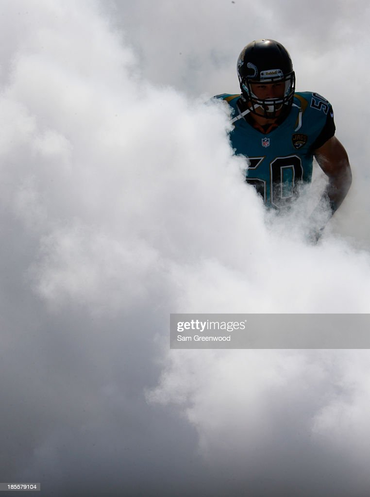 Russell Allen #50 of the Jacksonville Jaguars enters the stadium before the game against the San Diego Chargers at EverBank Field on October 20, 2013 in Jacksonville, Florida.