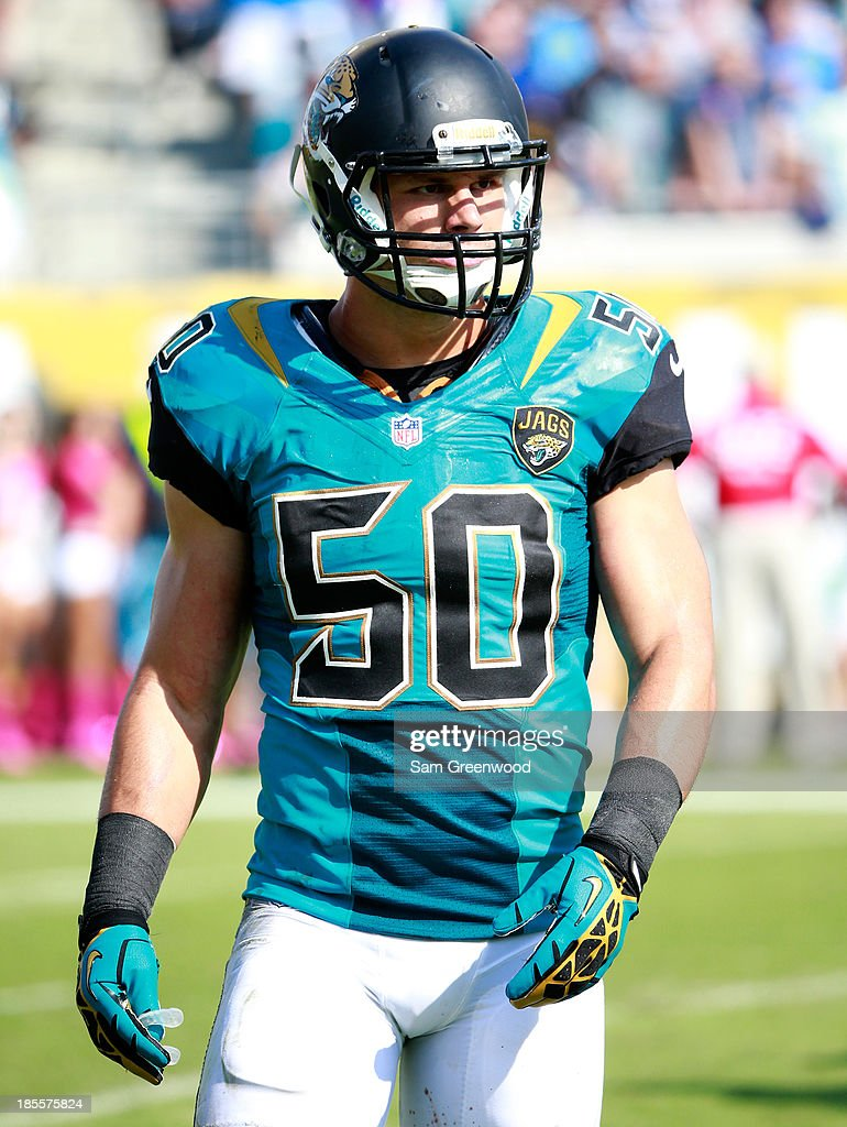 Russell Allen #50 of the Jacksonville Jaguars walks off the field during the game against the San Diego Chargers at EverBank Field on October 20, 2013 in Jacksonville, Florida.