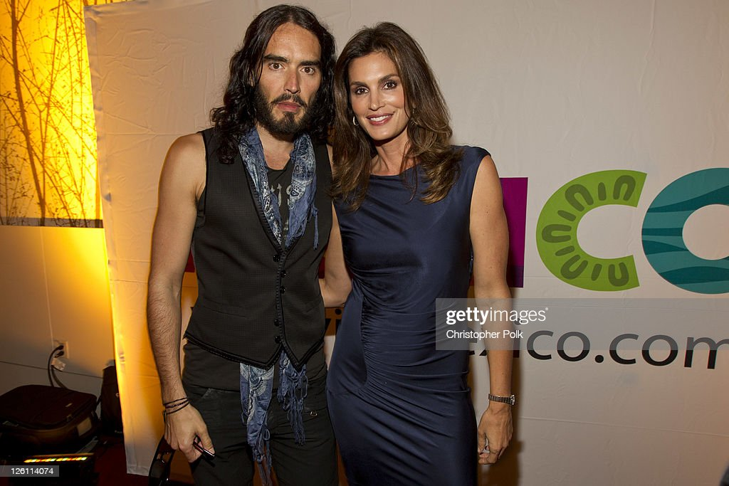 Russell Brand and Cindy Crawford celebrate their favorite destination at the LA premiere of 'Mexico: The Royal Tour' at JW Marriott Los Angeles at L.A. LIVE on September 21, 2011 in Los Angeles, California.