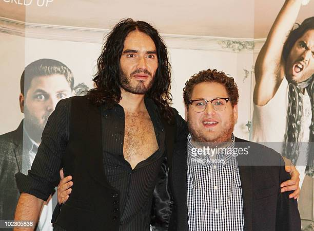 Russell Brand and Jonah Hill attend the Irish Premiere of 'Get Him To The Greek' on June 22 2010 in Dublin Ireland