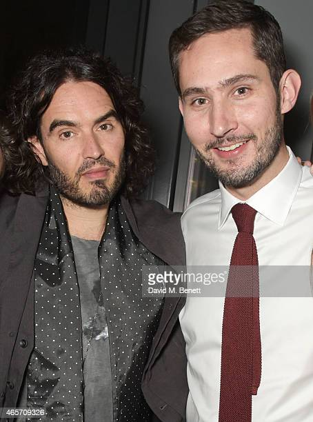 Russell Brand and Kevin Systrom attend a party hosted by Instagram's Kevin Systrom and Jamie Oliver This is their second annual private party taking...