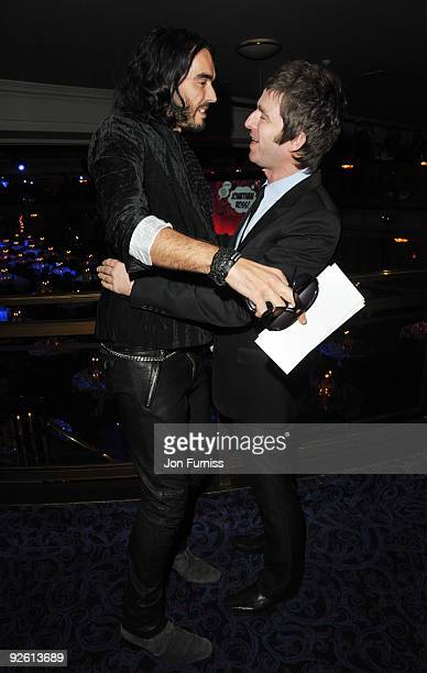 Russell Brand and Noel Gallagher from Oasis attend the Music Industry Trusts' Awards at The Grosvenor House Hotel on November 2 2009 in London England