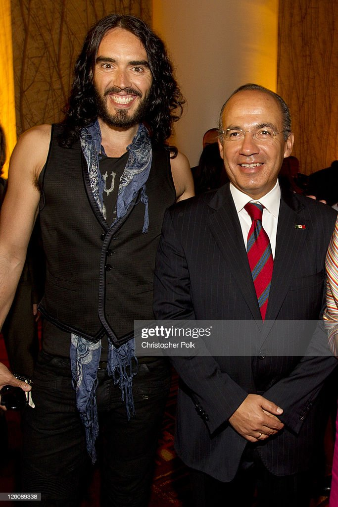 LOS Angeles, California. CA - SEPTEMBER 21: (EXCLUSIVE COVERAGE) Russell Brand (L) and President of Mexico Felipe Calderon attend the Los Angeles premier of the forthcoming public television special, 'Mexico: The Royal Tour' at JW Marriott Los Angeles at L.A. LIVE on September 21, 2011 in Los Angeles, California.