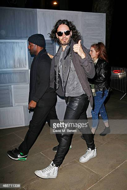 Russell Brand arrives at a party hosted by Instagram's Kevin Systrom and Jamie Oliver This is their second annual private party taking place at...