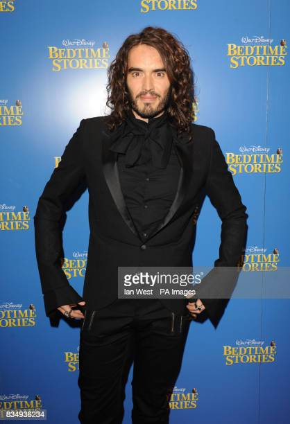 Russell Brand arrives at the premiere of Bedtime Stories at the Odeon cinema in Kensington central London