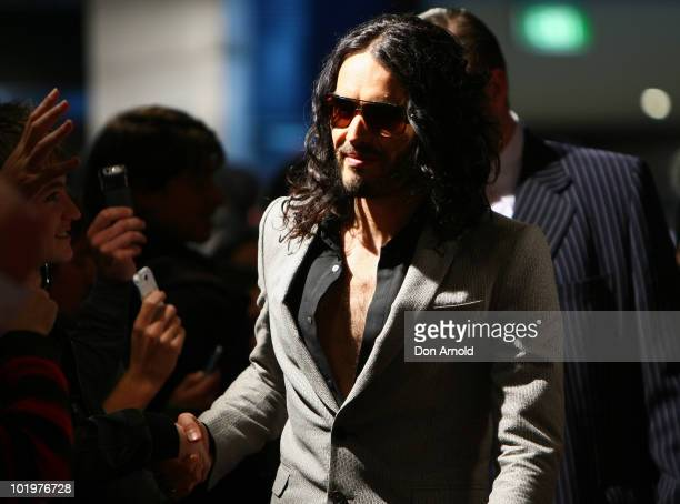 Russell Brand arrives at the premiere of 'Get Him To The Greek' at Event Cinemas George Street on June 11 2010 in Sydney Australia