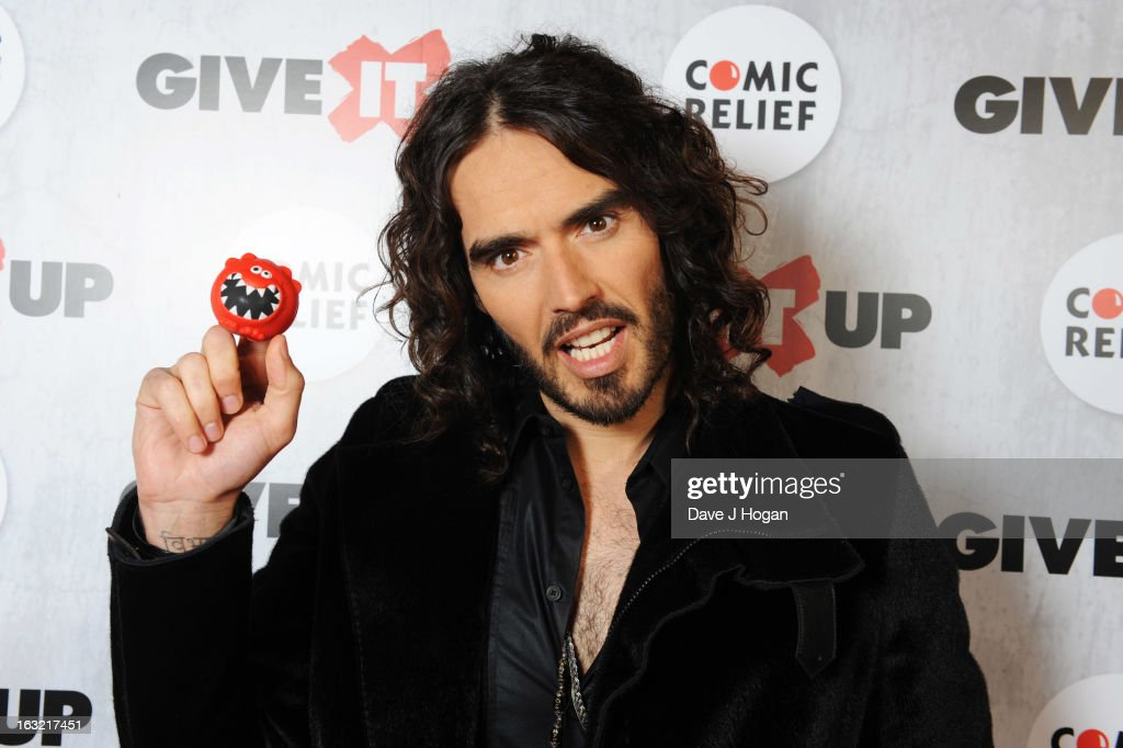 <a gi-track='captionPersonalityLinkClicked' href=/galleries/search?phrase=Russell+Brand&family=editorial&specificpeople=536593 ng-click='$event.stopPropagation()'>Russell Brand</a> attends 'Give It Up For Comic Relief' at Wembley Arena on March 6, 2013 in London, England.