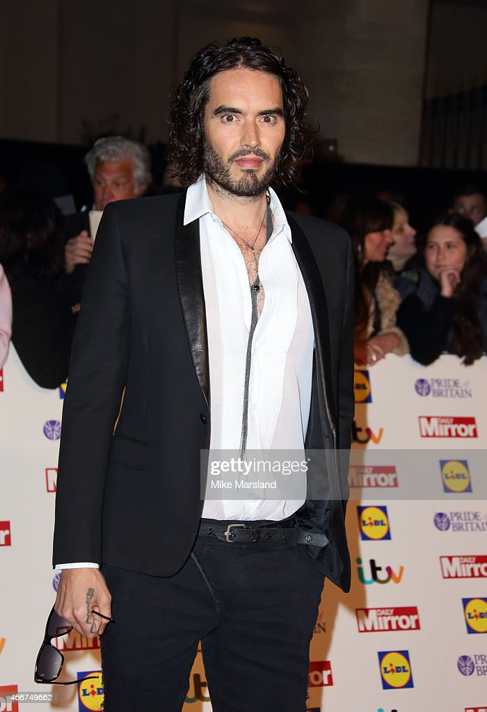 <a gi-track='captionPersonalityLinkClicked' href=/galleries/search?phrase=Russell+Brand&family=editorial&specificpeople=536593 ng-click='$event.stopPropagation()'>Russell Brand</a> attends the Pride of Britain awards at The Grosvenor House Hotel on October 6, 2014 in London, England.
