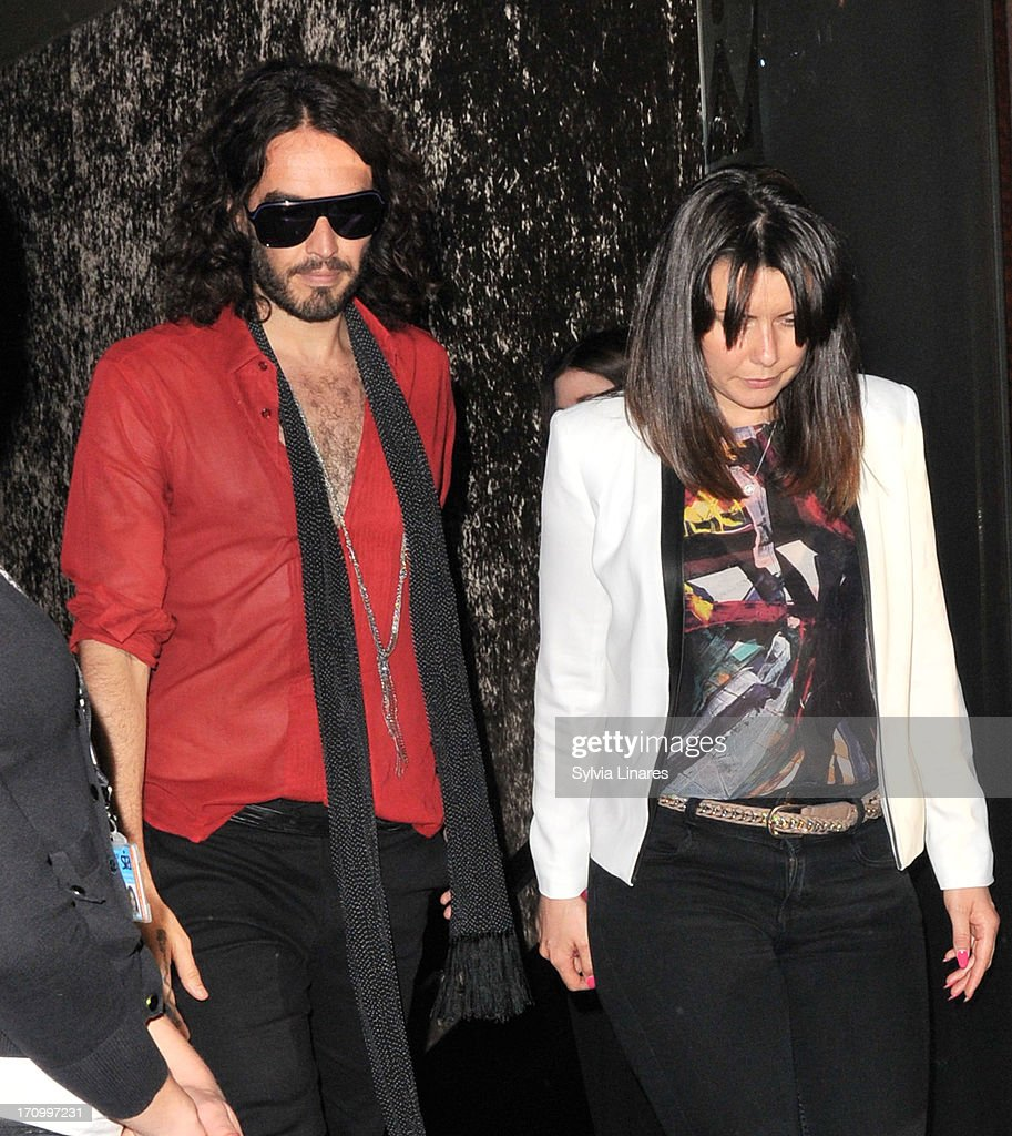 Russell Brand leaving Cafe de Paris Club on June 20, 2013 in London, England.