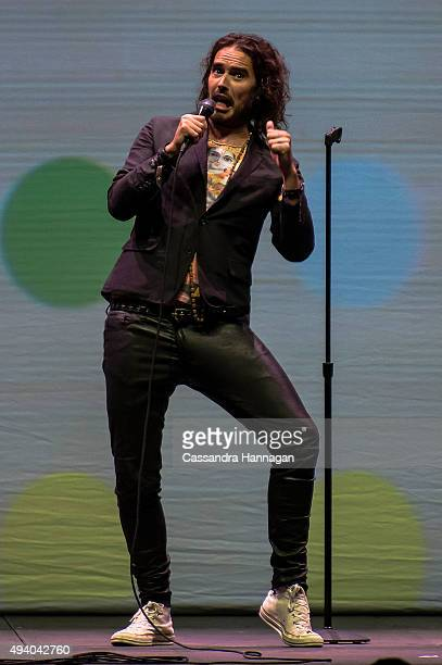 Russell Brand performs during his Trew World Order tour at Qantas Credit Union Arena on October 24 2015 in Sydney Australia