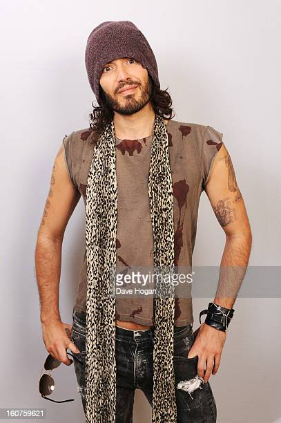 Russell Brand poses for portraits to promote his gig at Wembley Arena on 6th March in aid of Comic Relief at The Savoy Hotel on January 31 2013 in...