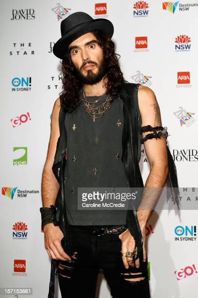 Russell Brand poses in the awards room at the 26th Annual ARIA Awards 2012 at the Sydney Entertainment Centre on November 29 2012 in Sydney Australia