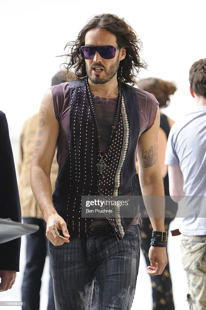 <a gi-track='captionPersonalityLinkClicked' href=/galleries/search?phrase=Russell+Brand&family=editorial&specificpeople=536593 ng-click='$event.stopPropagation()'>Russell Brand</a> sighted at BBC Radio Studios on June 20, 2013 in London, England.