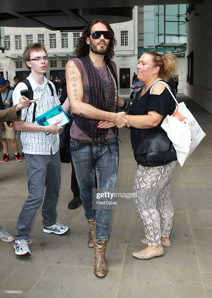 Russell Brand sighting outside BBC Radio One on June 20, 2013 in London, England.