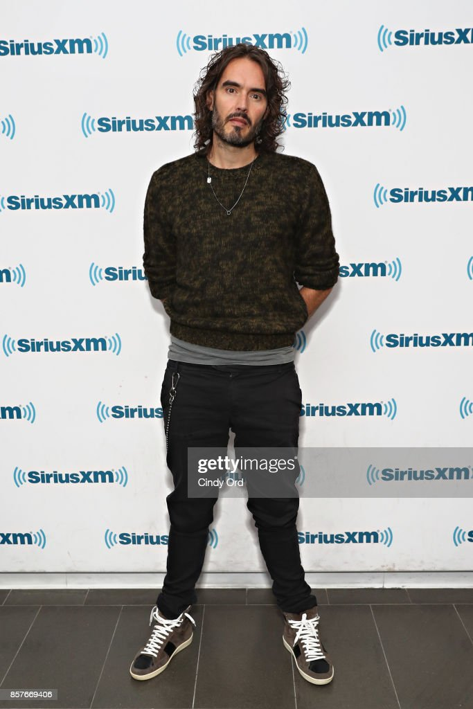 Russell Brand visits the SiriusXM Studios on October 4, 2017 in New York City.