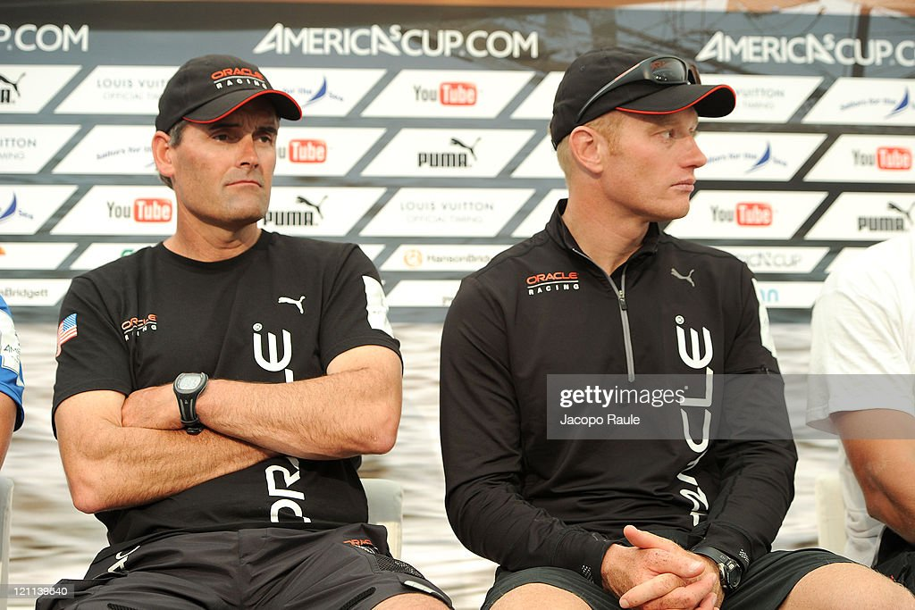 Russell Coutts and James Spithill attend the Closing Press Conference during the seventh day of the America's Cup World Series on August 14 2011 in...