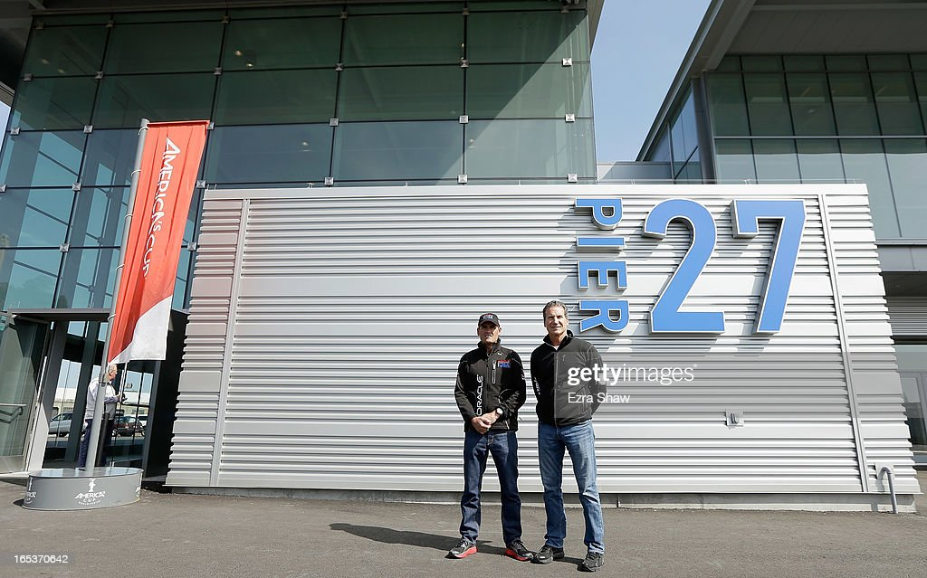 Russell Coutts, CEO of Oracle Racing, and Paul Cayard, CEO of Artemis Racing, pose for a photo outside the newly redeveloped Pier 27 during the America's Cup Summer of Racing Launch event on April 3, 2013 in San Francisco, California. The America's Cup Finals will be held in San Francisco Bay between September 7-22.