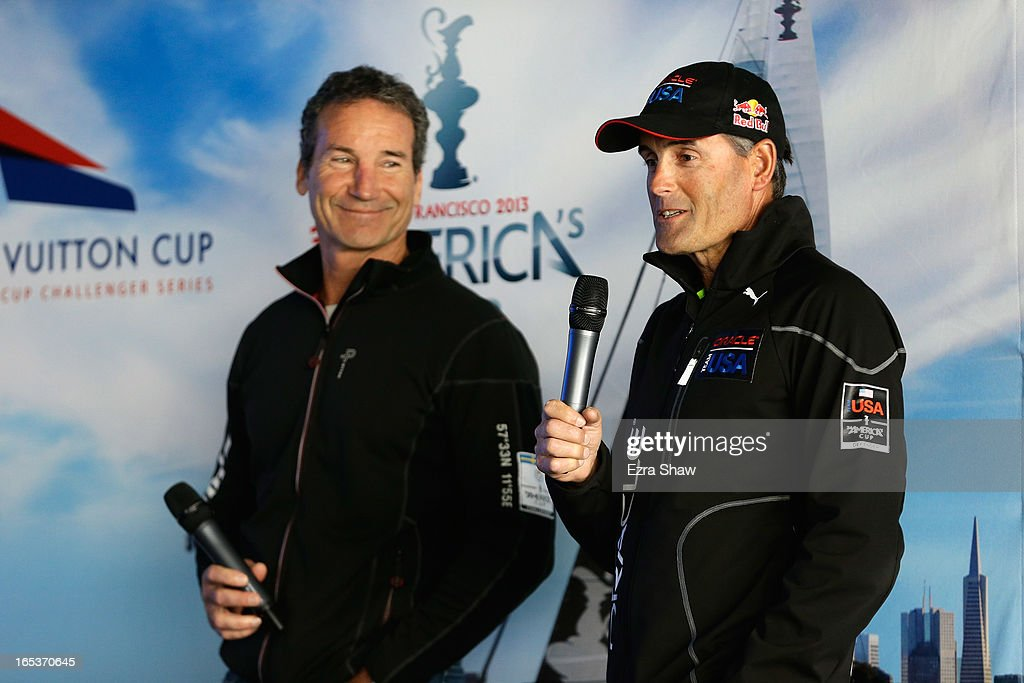 Russell Coutts, CEO of Oracle Racing, and Paul Cayard, CEO of Artemis Racing, speak to the media during the America's Cup Summer of Racing Launch event on April 3, 2013 in San Francisco, California. The America's Cup Finals will be held in San Francisco Bay between September 7-22.