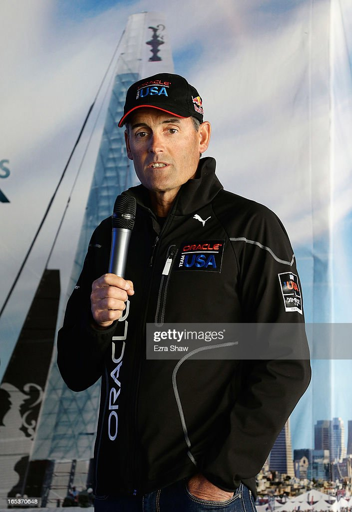 Russell Coutts, CEO of Oracle Racing, speaks to the media during the America's Cup Summer of Racing Launch event on April 3, 2013 in San Francisco, California. The America's Cup Finals will be held in San Francisco Bay between September 7-22.