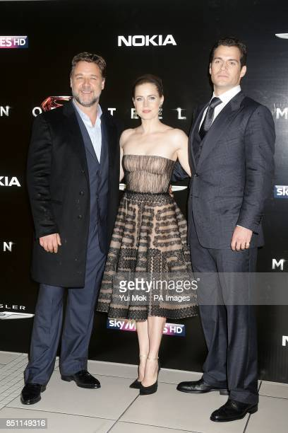 Russell Crowe Amy Adams and Henry Cavill arriving for the European premiere of Man of Steel at the Odeon Leicester Square London