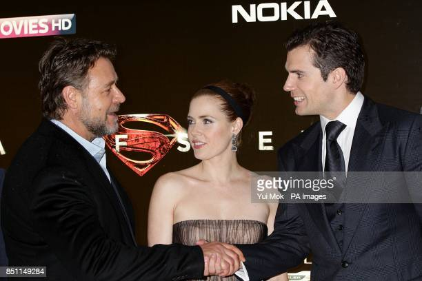 Russell Crowe Amy Adams and Henry Cavill during the European premiere of Man of Steel at the Odeon Leicester Square London