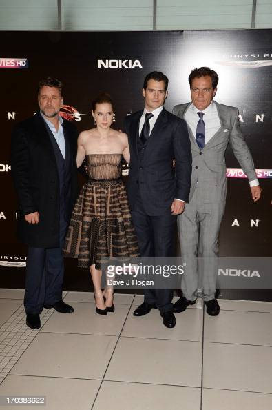 Russell Crowe Amy Adams Henry Cavill and Michael Shannon attend the European premiere of 'Man Of Steel' at The Empire Leicester Square on June 12...