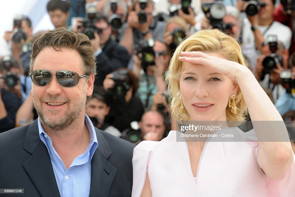 Russell Crowe and Cate Blanchett at the ?Robin Hood? Photocall ? 63rd Cannes International Film Festival