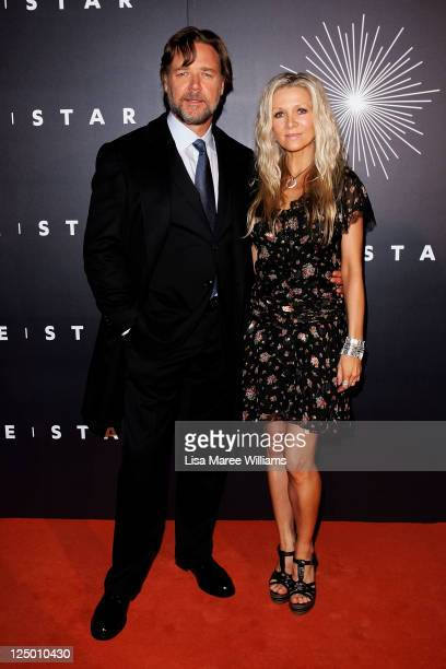 Russell Crowe and Danielle Spencer arrive at the opening of 'The Star' formerly Star City in Pyrmont on September 15 2011 in Sydney Australia The...