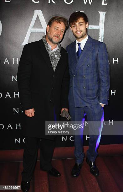 Russell Crowe and Douglas Booth attend the Irish premiere of 'Noah' at Savoy Cinema on March 29 2014 in Dublin Ireland