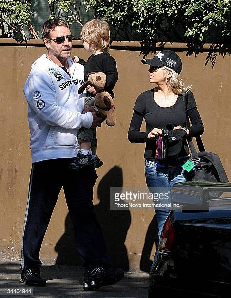 Russell Crowe and his wife Danielle Spencer are reunited with their son Tennyson on their return to Sydney today at Woolloomooloo Wharf on August 14...