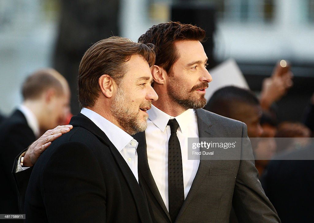 <a gi-track='captionPersonalityLinkClicked' href=/galleries/search?phrase=Russell+Crowe&family=editorial&specificpeople=202609 ng-click='$event.stopPropagation()'>Russell Crowe</a> and <a gi-track='captionPersonalityLinkClicked' href=/galleries/search?phrase=Hugh+Jackman&family=editorial&specificpeople=202499 ng-click='$event.stopPropagation()'>Hugh Jackman</a> attend the UK film premiere of 'Noah' at Odeon Leicester Square on March 31, 2014 in London, England.