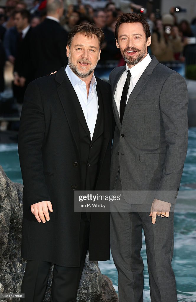 <a gi-track='captionPersonalityLinkClicked' href=/galleries/search?phrase=Russell+Crowe&family=editorial&specificpeople=202609 ng-click='$event.stopPropagation()'>Russell Crowe</a> and <a gi-track='captionPersonalityLinkClicked' href=/galleries/search?phrase=Hugh+Jackman&family=editorial&specificpeople=202499 ng-click='$event.stopPropagation()'>Hugh Jackman</a> attend the UK premiere of 'Noah' at Odeon Leicester Square on March 31, 2014 in London, England.