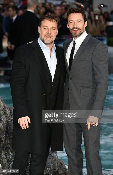 Russell Crowe and Hugh Jackman attend the UK premiere of 'Noah' at Odeon Leicester Square on March 31 2014 in London England