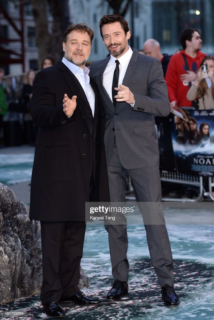 Russell Crowe and Hugh Jackman attend the UK premiere of 'Noah' held at the Odeon Leicester Square on March 31, 2014 in London, England.