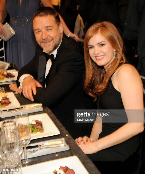 Russell Crowe and Isla Fisher attend the 19th Annual Screen Actors Guild Awards at The Shrine Auditorium on January 27 2013 in Los Angeles California...