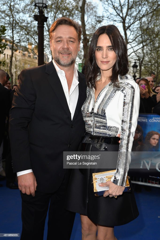 Russell Crowe and Jennifer Connelly attend the Paris Premiere of 'NOAH' at Cinema Gaumont Marignan on April 1, 2014 in Paris, France.