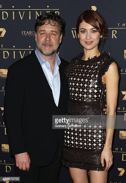 Russell Crowe and Olga Kurylenko arrive at the Melbourne Premier of 'The Water Diviner' at Rivoli Cinema on December 3 2014 in Melbourne Australia