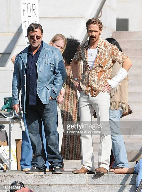 Russell Crowe and Ryan Gosling are seen filming 'The Nice Guys' on January 21 2015 in Los Angeles California