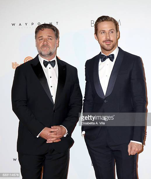 Russell Crowe and Ryan Gosling attend a photocall for 'The Nice Guys' at Cinema The Space on May 20 2016 in Rome Italy
