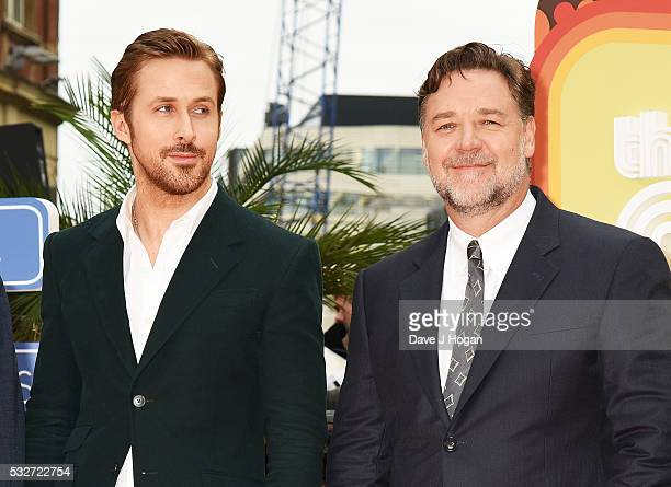 Russell Crowe and Ryan Gosling attend the 'The Nice Guys' UK Premiere at Odeon Leicester Square on May 19 2016 in London England