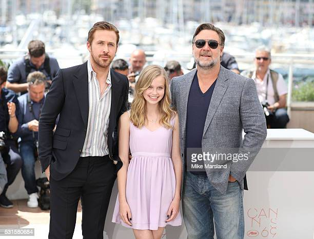 Russell Crowe Angourie Rice and Ryan Gosling attend 'The Nice Guys ' Photocall at the annual 69th Cannes Film Festival at Palais des Festivals on May...