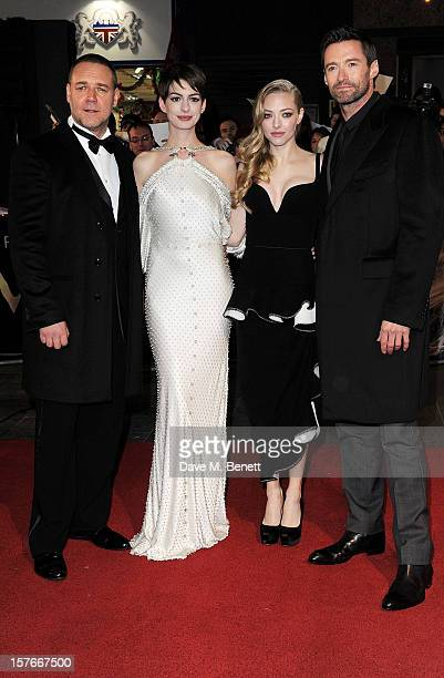 Russell Crowe Anne Hathaway Amanda Seyfried and Hugh Jackman attend the World Premiere of 'Les Miserables' at Odeon Leicester Square on December 5...