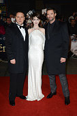 Russell Crowe Anne Hathaway and Hugh Jackman attend the world premiere of Les Miserables at The Odeon Leicester Square on December 5 2012 in London...