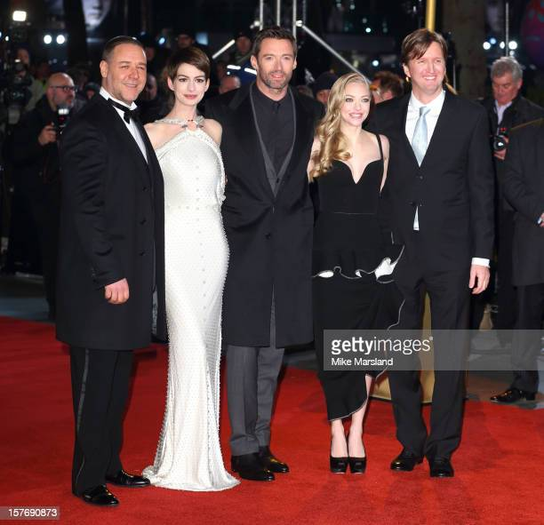 Russell Crowe Anne Hathaway Hugh Jackman Amanda Seyfried and Tom Hooper attend the World Premiere of 'Les Miserables' at Odeon Leicester Square on...
