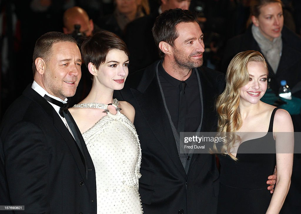 Russell Crowe, Anne Hathaway, Hugh Jackman and Amanda Seyfried attend the world premiere of 'Les Miserables' at Odeon Leicester Square on December 5, 2012 in London, England.