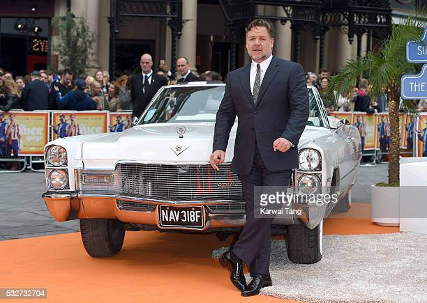 Russell Crowe arrives for the UK Premiere of 'The Nice Guys' at Odeon Leicester Square on May 19 2016 in London England