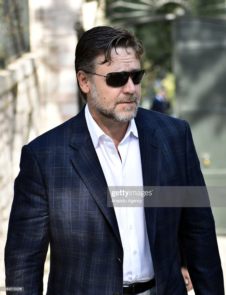 Russell Crowe arrives in the Grand Kiosk, also known as the Mecidiye Kiosk which is located inside the Topkapi Palace to meet with Turkish Culture and Tourism Minister Omer Celik (not pictured) on 12 October 2013 in Istanbul, Turkey. Russell Crowe met with Minister Omer Celik to talk about his upcoming movie 'The Water Diviner' which is about an Australian father's search of his two missing son after the Battle of Gallipoli in 1919.