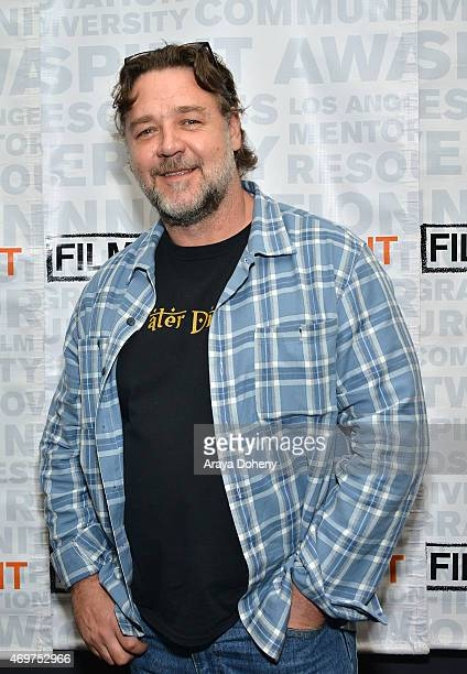 Russell Crowe attends the Film Independent screening and QA of 'The Water Diviner' at Landmark Theatre on April 14 2015 in Los Angeles California